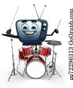 Drum-Set - Tv Character With Drum Set