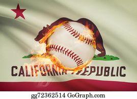 Baseball - Baseball Ball With Flag On Background Series - California