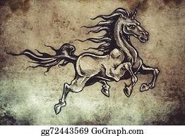 Beautiful-Unicorn - Horse With Wings, Unicorn,  Tattoo Sketch, Handmade Design Over