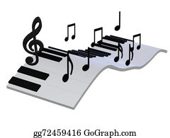 Music-Notes-On-Piano-Keyboard - Abstract Piano Keyboard 3d