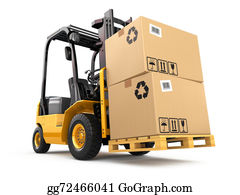 Hydraulic - Forklift Truck With Boxes On Pallet. Cargo.