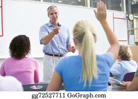 Teacher - Students Answering Questions In Math Class With Teacher