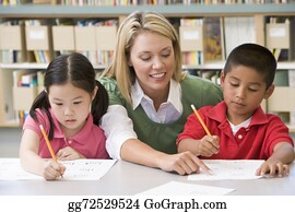 Teacher - Kindergarten Teacher Helping Students With Writing Skills