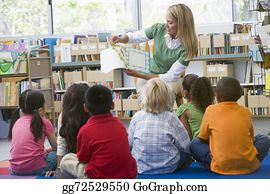 Teacher - Kindergarten Teacher Reading To Children In Library