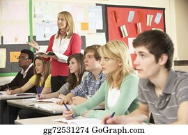 Teacher - Teenage Students Studying In Classroom With Teacher