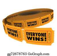 Lottery-Winner - Everyone Wins Fundraiser Raffle Ticket Roll Spread Victory Winne
