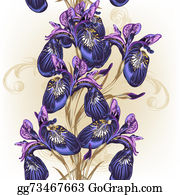 Vintage-Floral-Blue-Frame-Vector - Floral Seamless Wallpaper Pattern With Purple Flowers