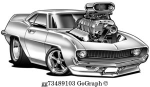 Muscle-Car - '69 Muscle Car Cartoon With Blower