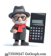 Geriatrics - 3d Granpa Holding A Calculator