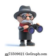 Geriatrics - 3d Grandpa Looks Through Binoculars
