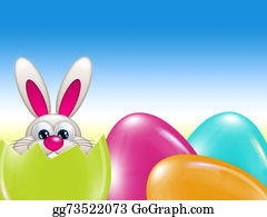 Pasqua - Easter Bunny Hatched From Egg Over Blue Sky