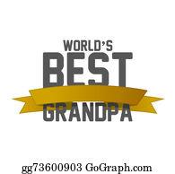 Granddaughter - Worlds Best Grandpa Ribbon Sign Illustration