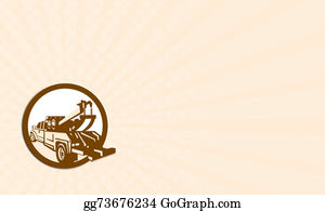 Tow-Truck - Business Card Tow Truck Wrecker Rear Retro