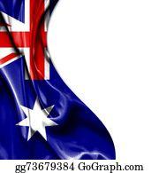 Australia - Australia Waving Satin Flag Isolated On White Background