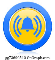 Blue-Bell - Alarm Blue Yellow Icon Alert Sign Bell Symbol