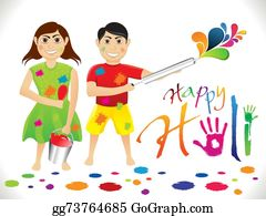 Holi-Festival-Celebration - Abstract Artistic Holi Cartoon