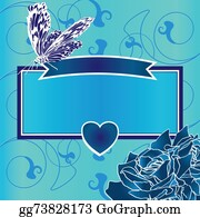 Vintage-Floral-Blue-Frame-Vector - Blue Frame With Heart, Butterfly And Roses