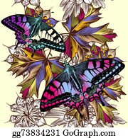 Classic-Victorian-Pattern - Floral Seamless Pattern With Colorful Butterflies And Foliage