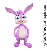 Cartoon-Farm-Animals-Card - Easter Bunny With Standing Pose