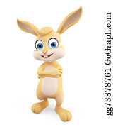 Cartoon-Farm-Animals-Card - Easter Bunny With Folding Hand Pose