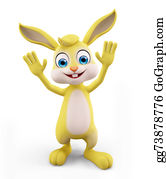 Cartoon-Farm-Animals-Card - Easter Bunny With Saying Hi Pose