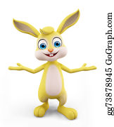 Cartoon-Farm-Animals-Card - Easter Bunny With Presentation Pose