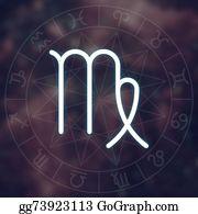 Zodiac-Sign-Crab - Zodiac Sign - Virgo. White Thin Simple Line Astrological Symbol