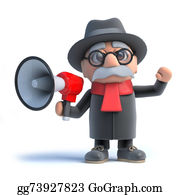 Geriatrics - 3d Old Man Using A Megaphone