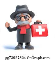 Geriatrics - 3d Old Man Brings First Aid