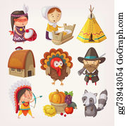 Grape-Leaf - Set Of Thanksgiving Items And Characters