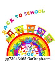 Funny-Toy-Train - Back To School Concept With Cartoon Train On Ranbow And Colored