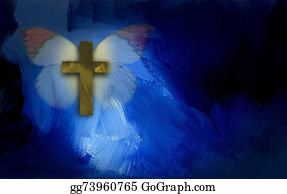 Christ-Is-Risen - Abstract Cross And Butterfly Wings