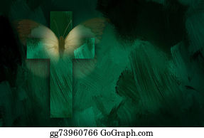Christ-Is-Risen - Graphic Cross And Butterfly Wings
