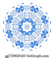 Vintage-Floral-Blue-Frame-Vector - Round Blue Floral Ornament In The Russian Traditional Style Isol