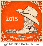 Cowboy-Boots - Western New Year Greeting Card With Cowboy Objects