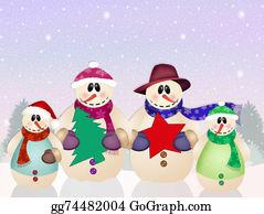 Christmas-Family - Snowman Family At Christmas