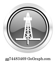 Drilling-Rig - Drilling Icon, Black Chrome Button