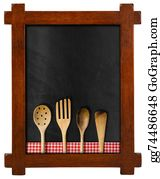 Utensils - Empty Blackboard With Kitchen Utensils