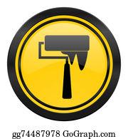 Paint-Brush - Brush Icon, Yellow Logo, Paint Sign