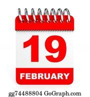 February - Calendar On White Background. 19 February.