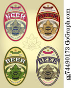 Beer - Set Of Four Oval Labels For Beer