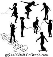 Hopscotch - Active Kids. Children On Roller Skates, Jumping Rope Or Playing
