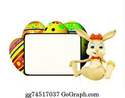 Cartoon-Farm-Animals-Card - Easter Bunny With Eggs And Signboard