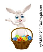 Cartoon-Farm-Animals-Card - Easter Bunny With Eggs Basket