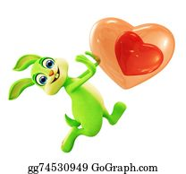 Cartoon-Farm-Animals-Card -  Easter Bunny With Heart