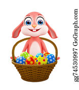Cartoon-Farm-Animals-Card -  Easter Bunny With Egg Basket