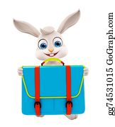 Cartoon-Farm-Animals-Card -  Easter Bunny With School Bag