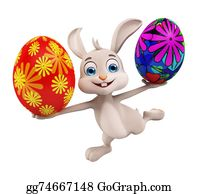 Cartoon-Farm-Animals-Card - Easter Bunny With Colorful Eggs