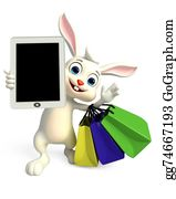 Cartoon-Farm-Animals-Card - Easter Bunny With Tab And Shopping Bag