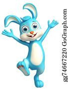 Cartoon-Farm-Animals-Card - Easter Bunny With Funny Pose